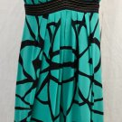 NICOLE MILLER teal/black SILK STRAP DRESS RETAIL $375.00 SZ 8US/38EUC