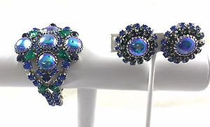 VINTAGE RHINESTONE BRACELET and MATCHING EARRINGS COBALT BLUE GREEN SET 7""