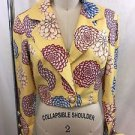 ZANG TOI YELLOW FLORAL ONE BUTTON CROP JACKET SIZE 4