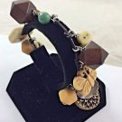 """Beaded, Butterfly, Carved Char Leather wrapped .925 Sterling Silver Bracelet 7"""""""