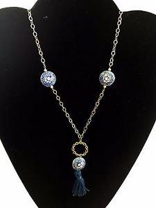 """Sparkling Sage Aqua Blue Color Statement Necklace Gold Tone 26"""""""