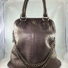 AMBER ROSE BRONZE METALLIC TWO CHAIN DETAIL HAND BAG