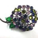 Vintage Large Multi Color Crystal Flower Brooch
