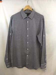 MICHAEL KORS TAILORED FIT NAVY/ WHITE HOUNDSTOOTH BUTTON FRONT SHIRT SIZE M