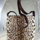 BROWN LEATHER ANIMAL PRINT PONY HAIR FLAP MESSENGER CROSSBODY BAG