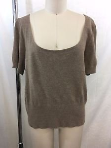 ST JOHN COLLECTION BROWN SCOOP NECK S/S SWEATER SIZE L