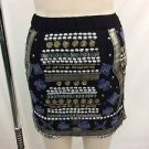 RAGA BLACK BEADED AND EMBELLISHED ELASTIC WAIST MINI SKIRT SIZE XS