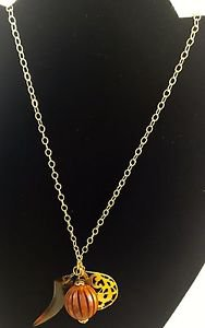 Sparkling Sage Gold Tone Necklace Wood plastic tooth pendent 26""