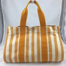HERMES PARIS CANNES MM WHITE/ ORANGE VERMILLION COTTON BAG
