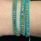 "Chan Luu 22"" Wrap Bracelet Turquoise Wrap Leather Gold Beads .925 Clasp"