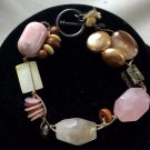 """Peyote Bird.925 Southwestern Pink Beige Stone Beaded Sterling Silver Bracelet 7"""""""