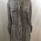 ANGIE GRAY EMBROIDERED BUTTON DOWN DRAWSTRING SHIRT JACKET SIZE SMALL