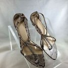 VIVA BROWN/ BEIGE SNAKE EMBOSSED STRAPPY KITTEN HEELS SIZE 10