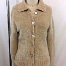 FREE PEOPLE BEIGE CHENILLE CARDIGAN SWEATER SIZE L