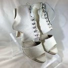 MADISON HARDING CREAM PERFORATED LEATHER ANKLE CUFF BOOTIE HEELS SIZE 9.5