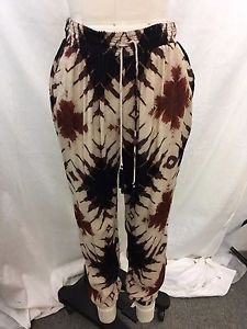 AMUSE TAN/ BLACK/ RUST TRIBAL PRINT DRAWSTRING PANTS SIZE M