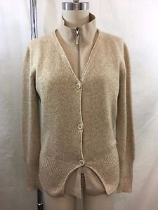 BRUNELLO CUCINELLI CASHMERE OATMEAL ZIP FRONT BUTTON OVER CARDIGAN SIZE XL