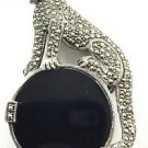 Jaguar Marcasite .925 Silver Tone Brooch w/ Large Onyx Stone