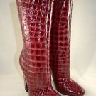 JIMMY CHOO BURGUNDY RED PATENT CROC EMBOSSED MID CALF BOOT SIZE 36.5