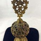 ORMOLU  ROUND SPHERE PERFUME BOTTLE GOLD TONE FLOWER DESIGN