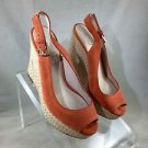 MICHAEL MICHAEL KORS KEELYN ORANGE SUEDE SLINGBACK ROPE WEDGES SIZE 7.5 M