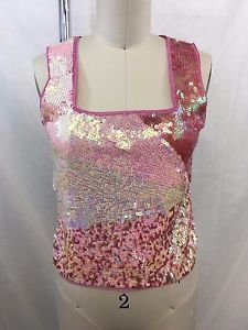 ALBERTO MAKALI PINK OMBRE SEQUIN MESH BACK SHELL TOP SIZE SMALL