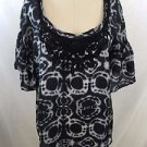 DA-NANG BLACK/ WHITE EMBROIDERED SILK TIE DYE BLOUSE SIZE XS