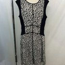 ELIZA J BLACK CREAM LEOPARD PRINT MISSY CAP SLEEVE BODYCON DRESS SIZE 14