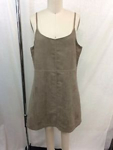 SAM EDELMAN KHAKI FAUX SUEDE PERFORATED TANK DRESS SIZE LARGE
