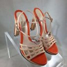 FENDI BEIGE/ ORANGE LEATHER ANKLE STRAP OPEN TOE HEELS SIZE 38.5