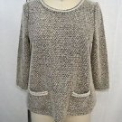 MEADOW RUE GRAY PEARL TRIM DETAIL BOUCLE SWEATER SIZE XS