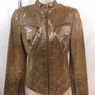 LAUNDRY SHELLI SEGAL BROWN/ GOLD SHIMMER SNAKE PRINT ZIP MOTO JACKET SIZE M