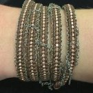 """Chan Luu 34"""" Wrap Bracelet Brown Leather Silver chains Silver Crystals & Beads"""