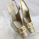 ESCADA GOLD METALLIC EMBOSSED GOLD BUCKLE SQUARE TOE SLING BACK HEELS SIZE 38