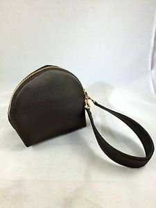 SALVATORE FERRAGAMO OLIVE BROWN SATIN GOLD ZIP AROUND WRISTLET HAND BAG