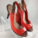 MARK + JAMES BADGLEY MISCHKA ORANGE PATENT SLING BACK PLATFORM HEELS SIZE 9.5 M