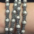 "Chan Luu  28"" Wrap Bracelet Grey Corded Silver Crystals & Beads .925 Clasp"