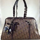 CHRISTIAN DIOR ROMANTIQUE TROTTER LOGO BROWN LEATHER CHAIN STRAP HANDBAG
