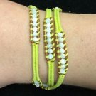"""Chan Luu 22"""" Wrap Bracelet Yellow Corded White Crystals & Beads .925 Clasp"""