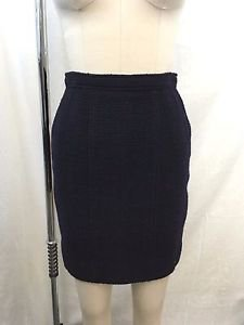 CHANEL BOUTIQUE VINTAGE NAVY WOOL SILK LINED PENCIL SKIRT SIZE 36