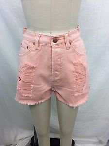 "MINK PINK BLUSH PINK ""ALMOST FAMOUS SLASHER"" CUT OFF SHORTS SIZE M"