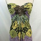 SKY LIM GREEN/ PURPLE MULTI PRINT SEQUIN RUCHED STRAPLESS TOP SIZE XS
