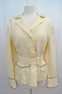 AUSTIN REED CREAM LINEN JACKET W/ GREEN TRIM SIZE 12 RETAIL $425