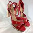 THE ORIGINAL CAR SHOE RED PATENT STRAPPY CORK HEELS SIZE 40