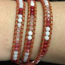 "Chan Luu  22"" Wrap Bracelet Beige Red Wrap Leather Multi Color Beads .925 Clasp"
