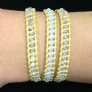 """Chan Luu  22"""" Wrap Bracelet Yellow Wrap Leather Clear Crystals .925 Clasp"""