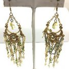 Vintage Gold Tone Chandelier White  Beaded Aurora Borealis Rhinestone Earrings