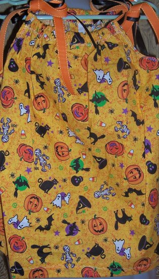 Trick or Treat! Handmade Halloween Pillowcase Dress  with Cats Witches Mummies and More !