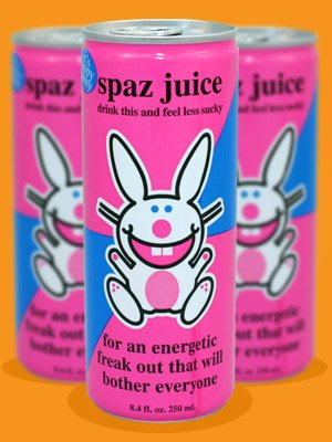 It's Happy Bunny Spaz Juice Energy Drink Hard to find! Set of 2