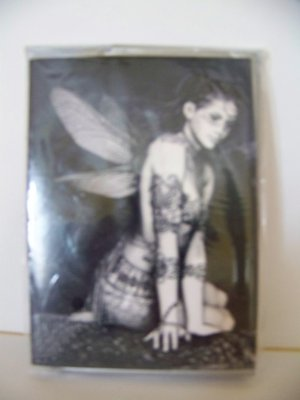 The Perfect Package - Gift card Black and white tatooed fairie card and paper